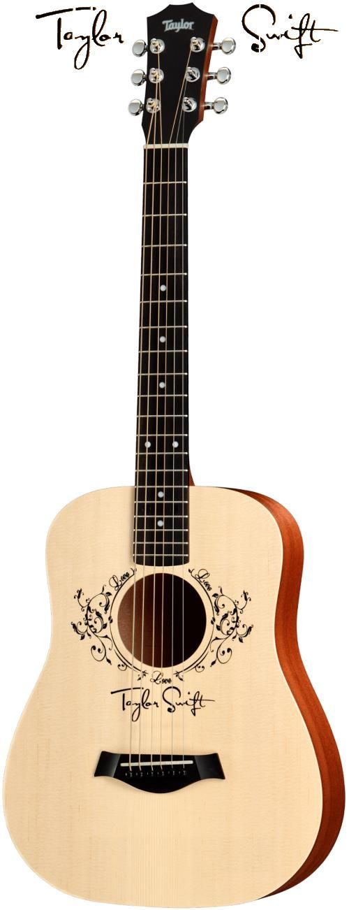 Taylor TSBT2. This is Taylor Swift's very own signature Baby Taylor acoustic guitar. A good option for young Taylor Swift fans to learn to play guitar on.