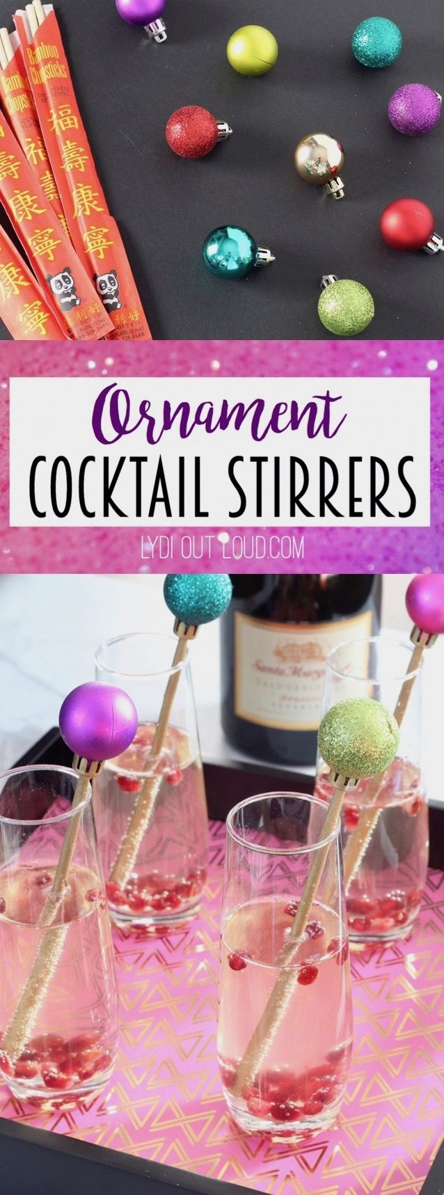 Festive Ornament Cocktail Stirrers - made out of chopsticks!