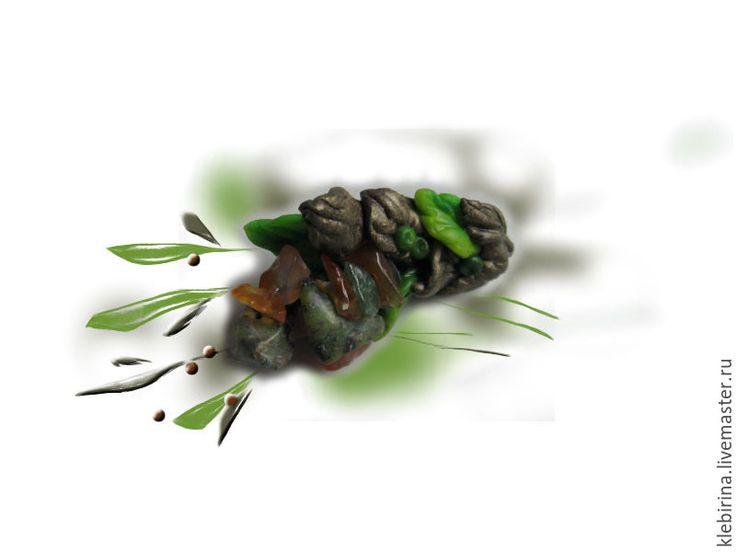 Купить Брошка веточка, натуральные камни, глина - салатовый, ярко-зелёный, green flash, бронзовый