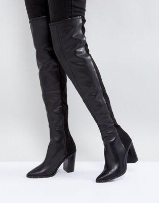 79a3e9c7bf5e ALDO Thirassa Leather Studded Over The Knee Boots