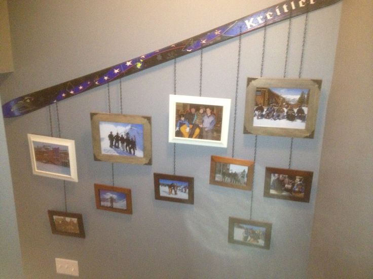 Ski picture hanger. Don't throw out your old skies