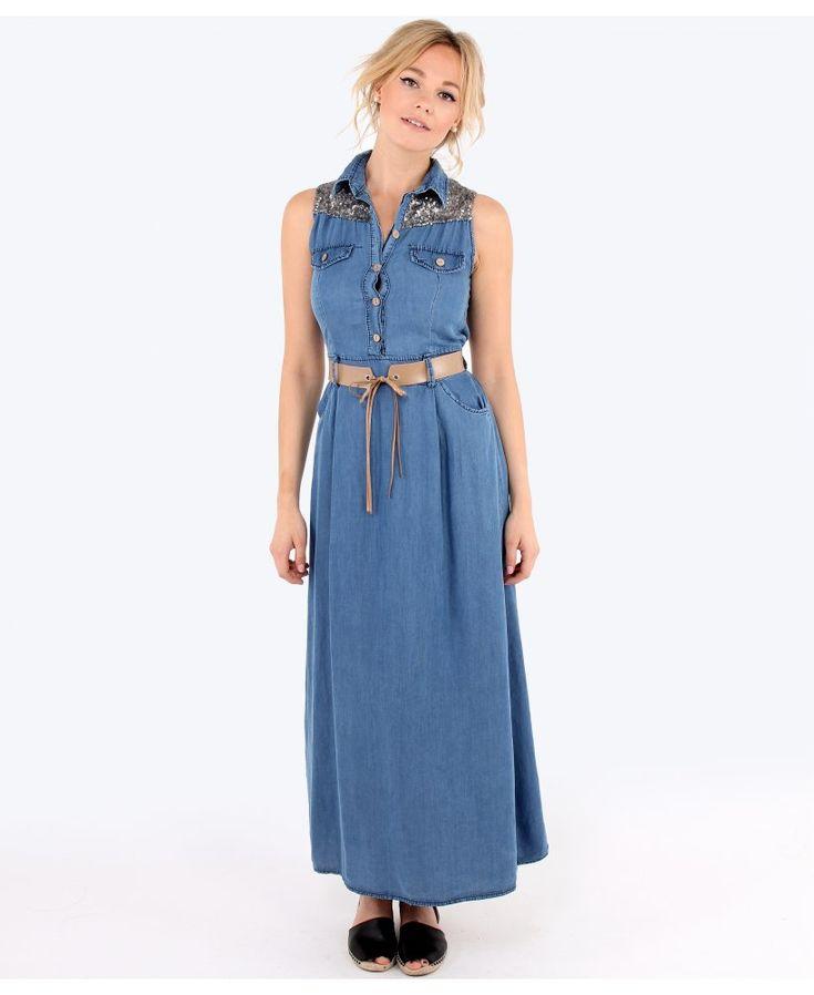 Sequin Denim Maxi Dress   Dresscab