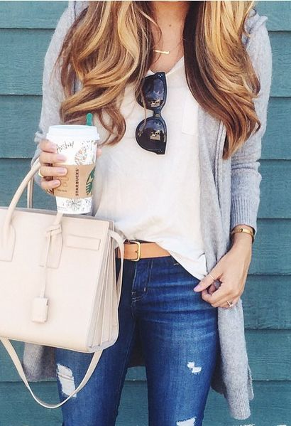 summer outfits  Grey Cardigan   White Silk Top   Ripped Skinny Jeans