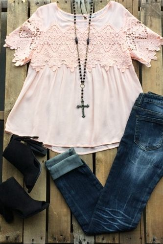 Our Still Into You Top - Peach Is the perfect top! It is a sheer top with lace detail to the front and the sleeves. Has a keyhole back. Would need to be worn with a camisole.