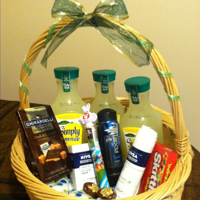 14 best wine gift baskets images on pinterest gourmet gift easter basket ideas for my boyfriend except vitamin water instead of lemonaid negle Image collections