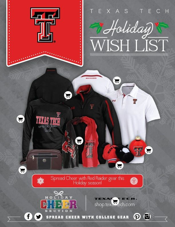 Texas Tech Holiday Wish List by College Colors! @Texas Tech Athletics #TTU #wreckem #gunsup #repintowin