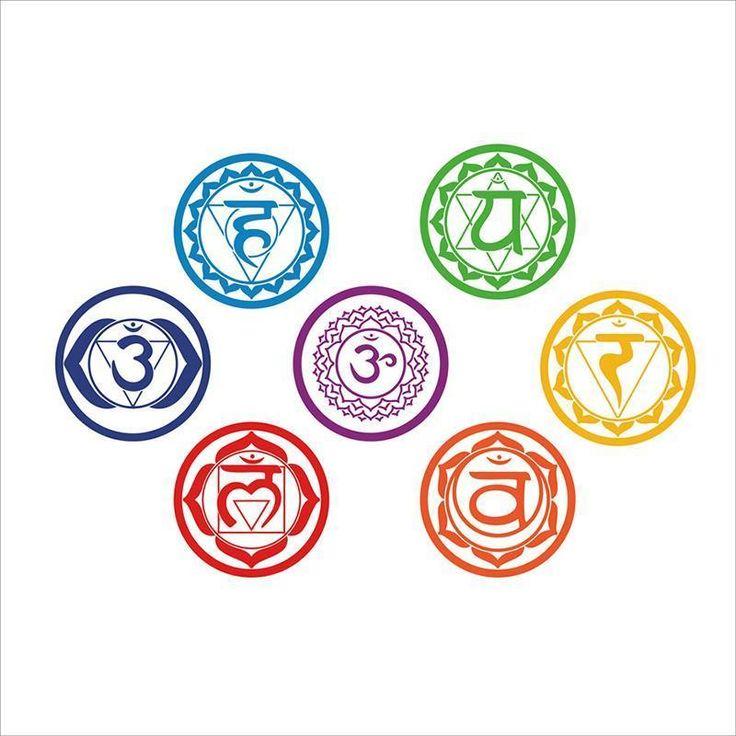 7pcs/set Chakras Vinyl Wall Stickers Muraux Mandala Yoga Om Meditation Symbol Mural Art Wall Decals Poster Home Decor Wallpaper