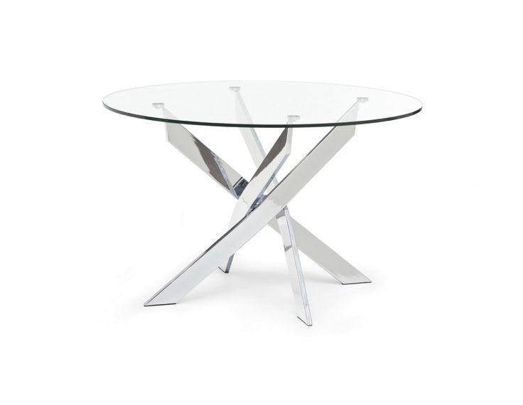 IBIZA - Table ronde en verre et en chrome 120cm - Chrome
