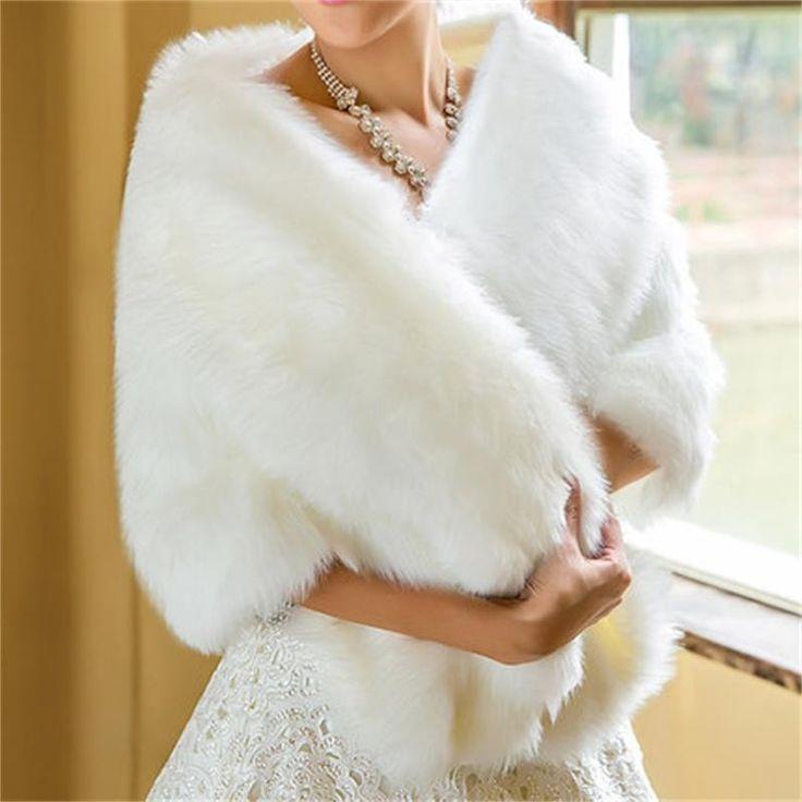 2017白い毛皮ボレロショールウェディングジャケットブライダルラップボレロフェイクファー結婚式ボレロアイボリー冬結婚式コート