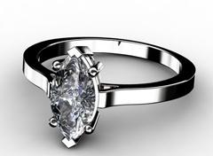 Diamant Verlobungsring Marquise, 750er Weißgold 18 Karat