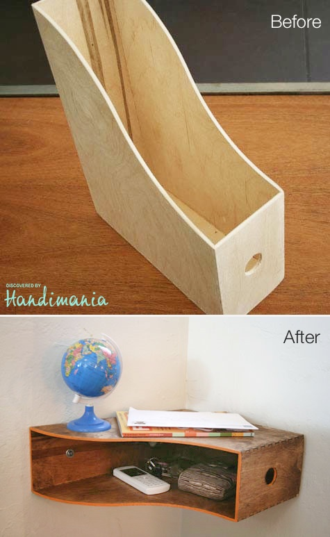 Catch-all shelf made of wooden magazine holder