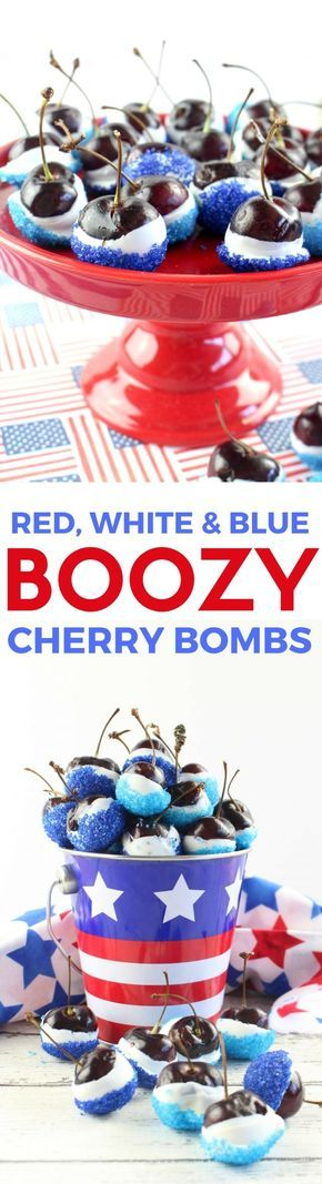 Red, White & Blue Boozy Cherry Bombs Recipe for July 4th! It involves cherries soaked in vodka, friends. - from momspark.net