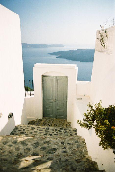 Doorway To The Sea, Santorini, Greece: The Doors, Santorini Greece, Dreams Vacations, Travel Accessories, Places, Greek Islands, Greek Isle, White Wall, The Sea