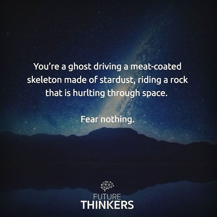 """""""You're a ghost driving a meat-coated skeleton made of stardust, riding a rock that is hurtling through space. Fear nothing."""" #quote"""
