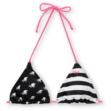 Striped Pig Black & White Triangle Bikini Top