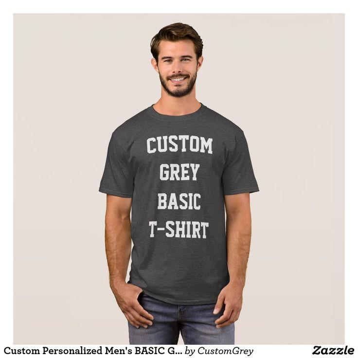 Custom Personalized Men's BASIC GREY T-SHIRT