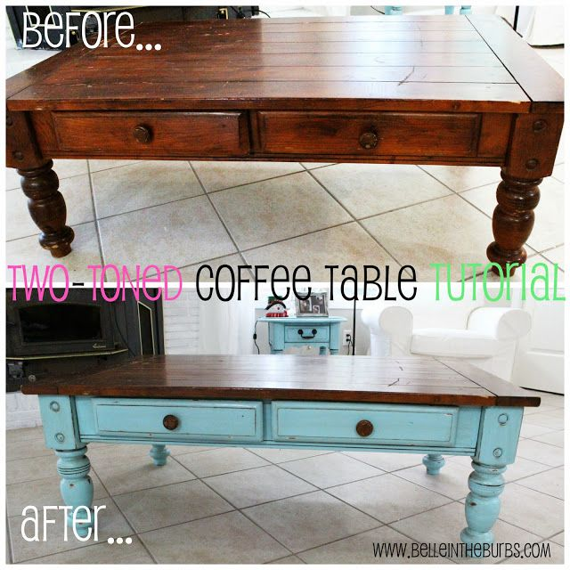 Two-Toned Coffee Table Tutorial! Learn how to paint, distress, and glaze your table!