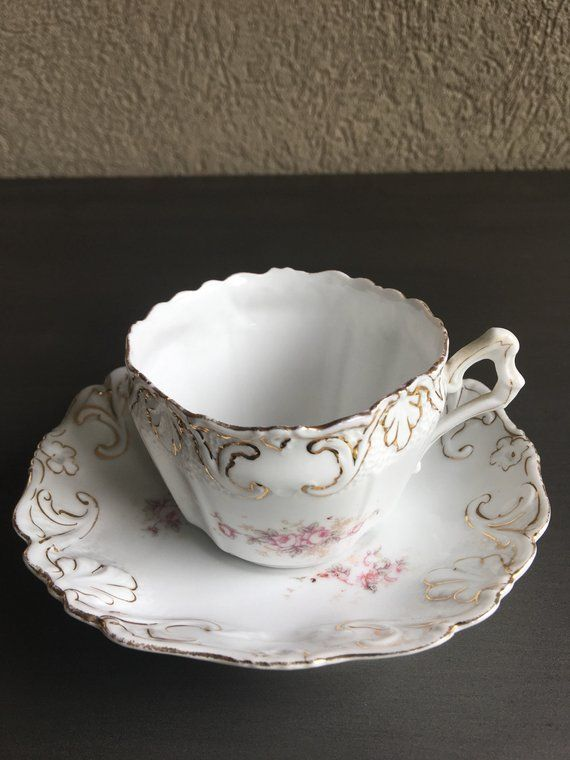 Antique China Cup & Saucer Scalloped Embossed Teacup / Pink