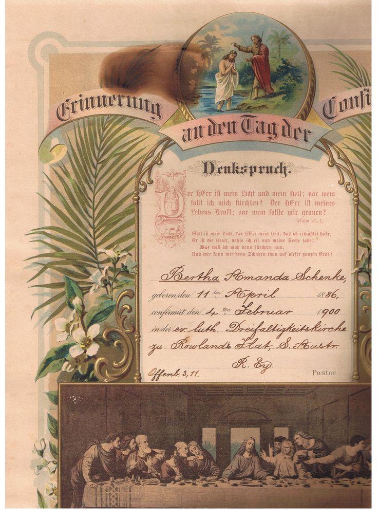 Bertha Noske (Schenke) Christening Certificate, Collection from Great Aunt (Bertha)