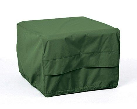 Square fire pit covers in different fabric options. #firepitcovers