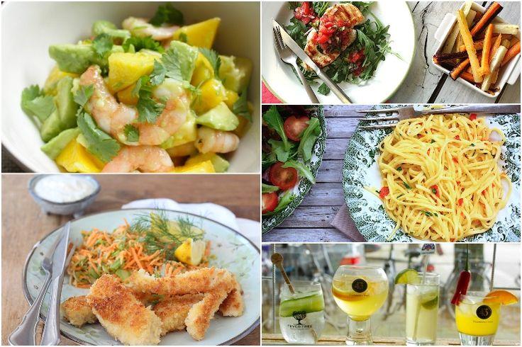 Francesca's Familie Weekmenu #133 met o.a. salade met mango, zelfgemaakte vissticks, avocado en garnalen, biefstuk caprese en cocktails.