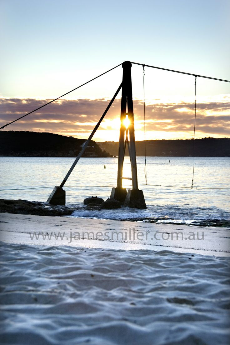 Balmoral Beach shark net at sunrise