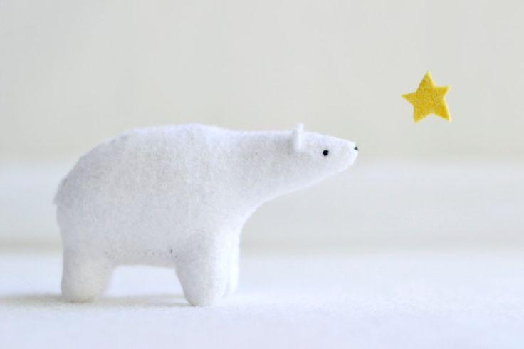 polar bear - felt plush soft sculpture animal. $54.00, via Etsy.