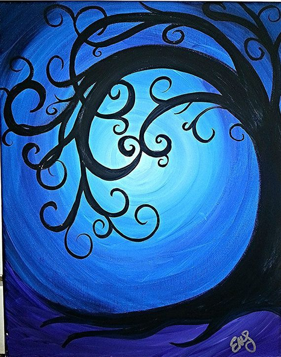 Whimsical Backgrounds | Whimsical tree on night background