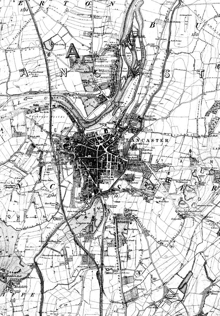 Lancaster os map in 1845 lancaster history pinterest