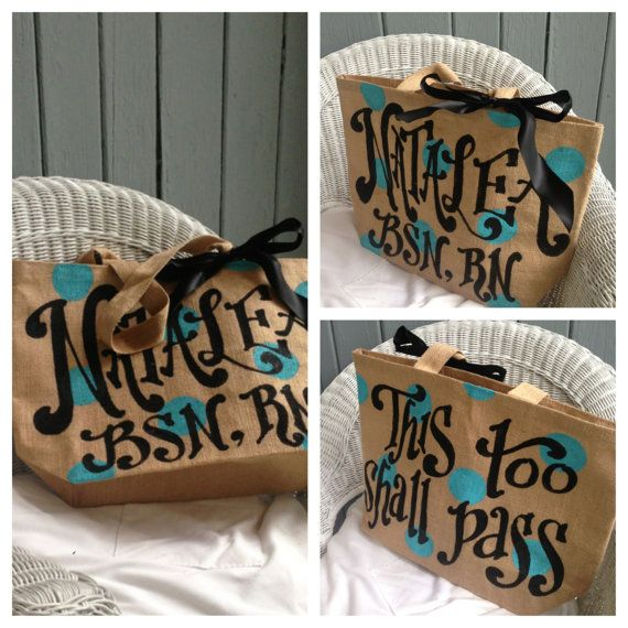 Double sided Painted Custom Monogram or Quote Burlap Tote by kijsa