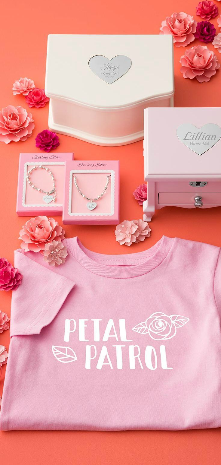 Give A Gift That Your Flower Girl Will Cherish Forever From Our Petal Patrol Flower Girl Flower Girl Shirts Wedding Flower Girl Gifts Gifts For Wedding Party