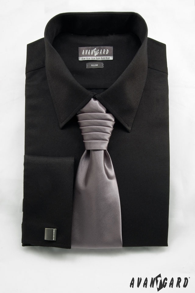 Pánská košile se saténovou regatou a manžetovými knoflíčky  AVANTGARD