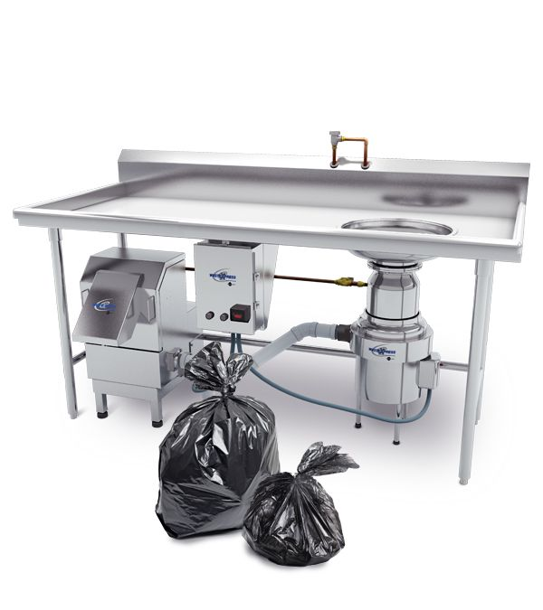 WasteXpress efficiently processes food waste without the need to use cardboard. Our systems can process up to 700 lbs. per hour, and install under any standard dish table. Place all liquid and solid waste into the food waste disposer, where it's first ground and then reduced by up to 85% of its original volume in the dewatering section. Ten bags of waste can be turned into less than two! WasteXpress can handle virtually all kitchen waste, including food scraps, placemats, napkins, jelly…