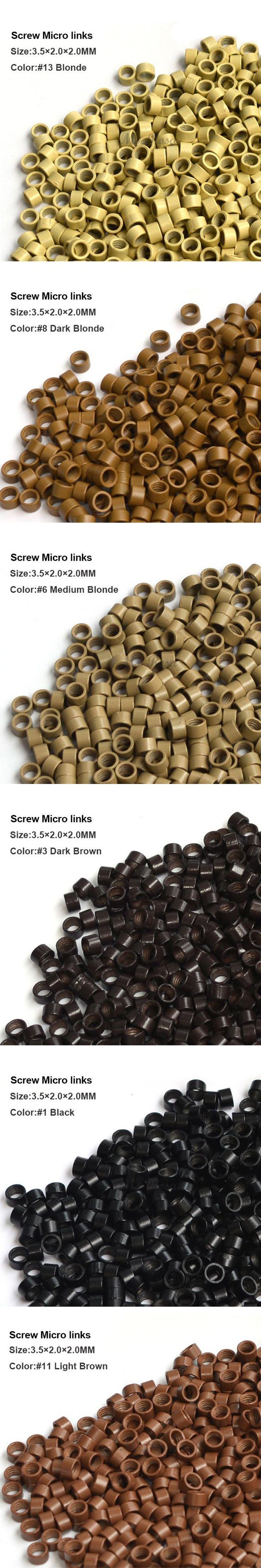 Screw Micro Rings 3.5*2.0*2.0MM 1000Pcs/Bottle #6 Medium Blonde Micro Ring Hair Extension Tools Micro Links Hair Extension