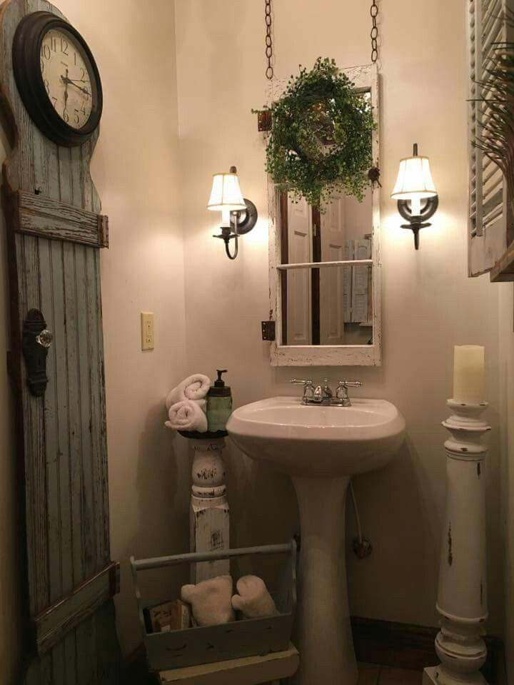 Mirror behind old window frame #Shabbychicbathrooms Shabby chic