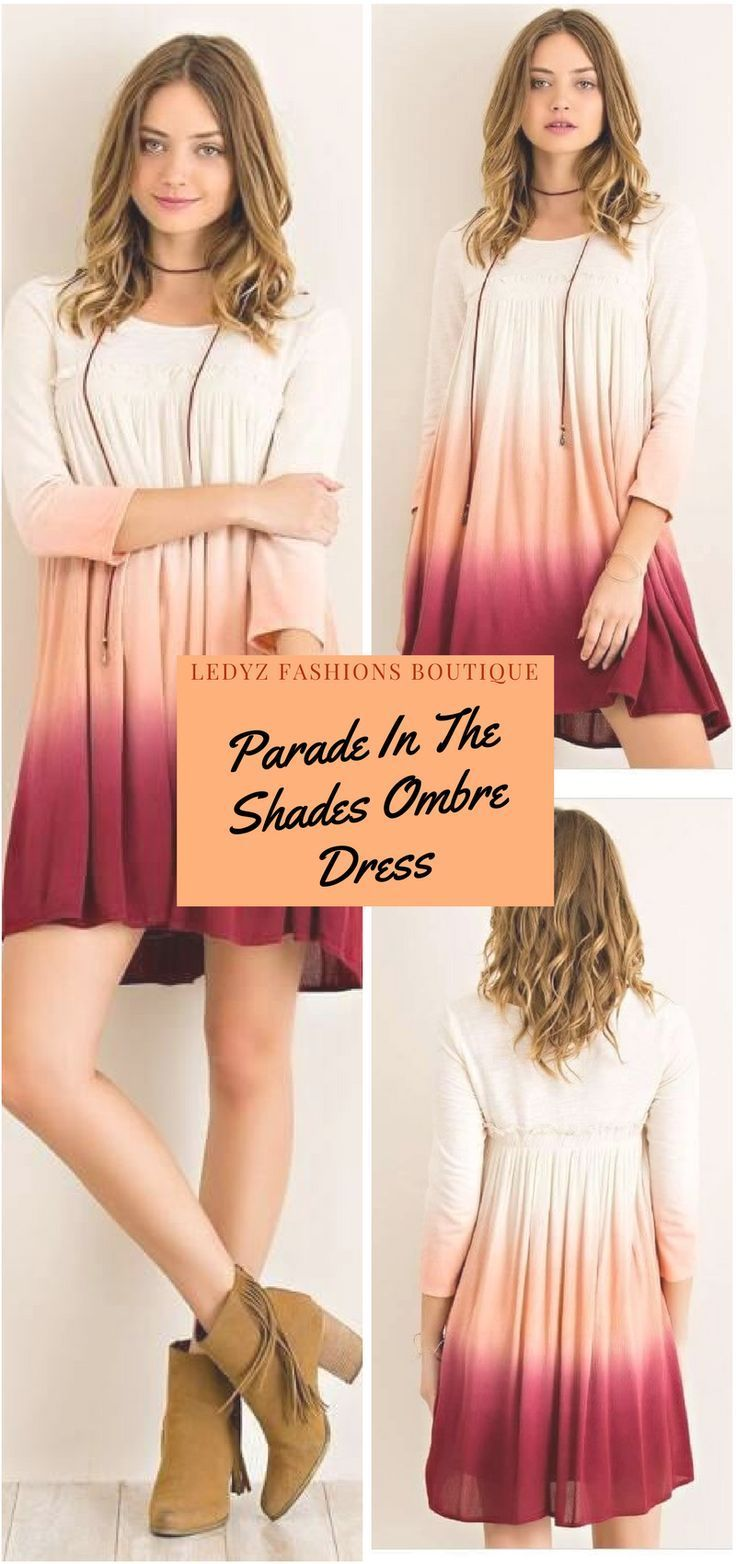 Parade In The Shades Peach Burgundy Red Ombre Dress | An amazingly fun dress that is perfect for the weekends or anytime during your busy schedule.    Lightweight knit and oh so fun with the multi color Rosewood Burgundy Ombre colors flowing down the dress. Smocking detail at bust with edge ruffle for a flirty accent.  Slip on style dress.