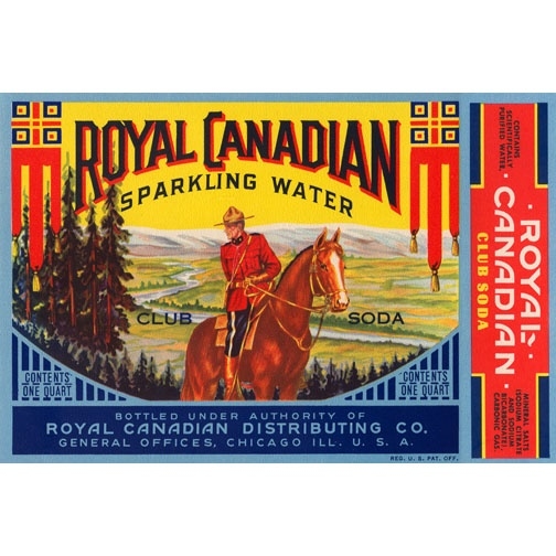 Royal Canadian Sparkling Water Club Soda Bottle Label Retro Canadiana postcard....Chicago???