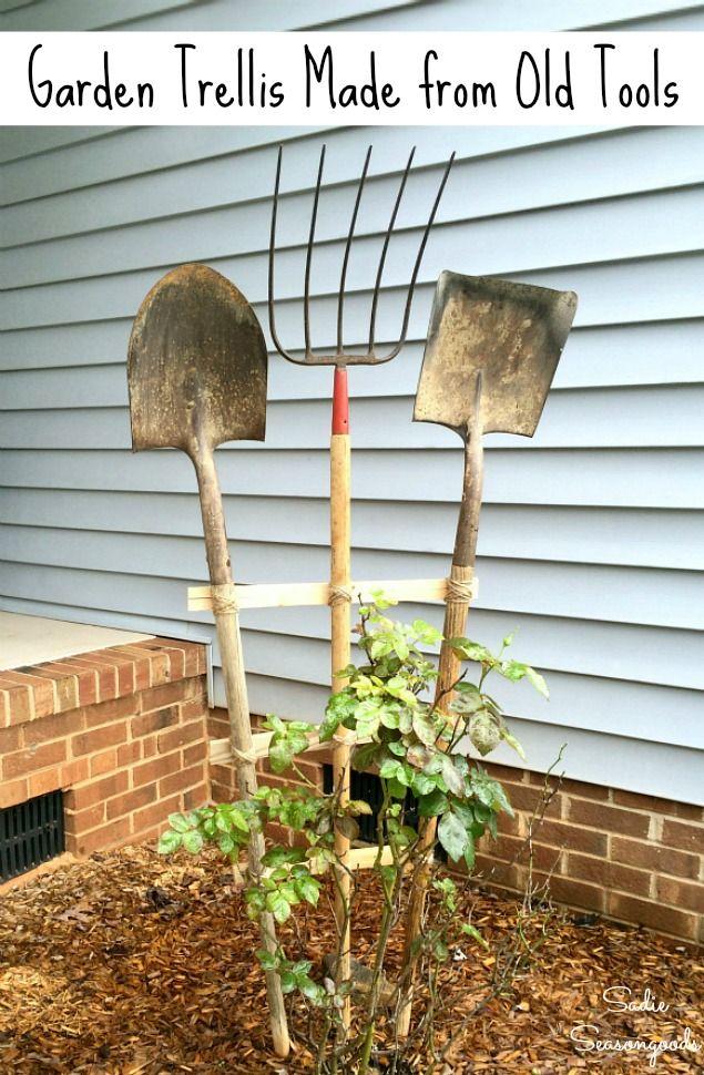 Building A Garden Trellis With Farm Tools For Garden Art Primitive Decor Diy Garden Trellis Old Garden Tools Upcycle Garden