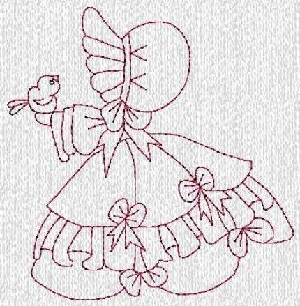 Sunbonnet Sue Down South Redwork Machine Embroidery Designs