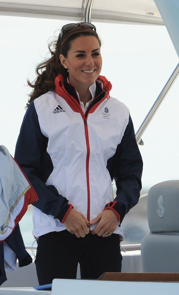 Kate in a Team GB Olympic windbreaker and Givenchy sunglasses on 8/6/12 at Olympic sailing.