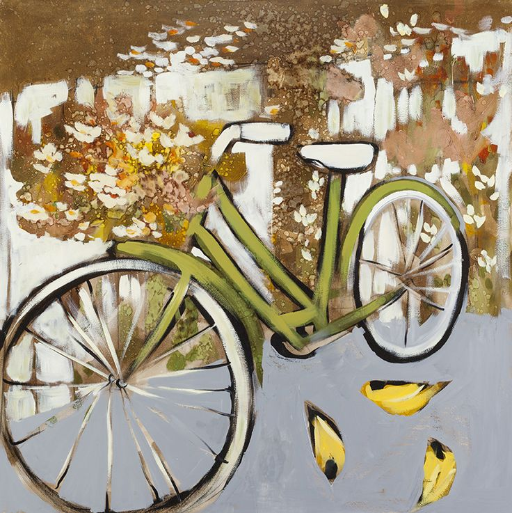 Buy Bicycle and Finches on Oil and Metal Leaf on Wood Panel by Joseph Bradley. Joseph Bradley is from  Greenville, SC and is represented by Atrium Art Gallery.