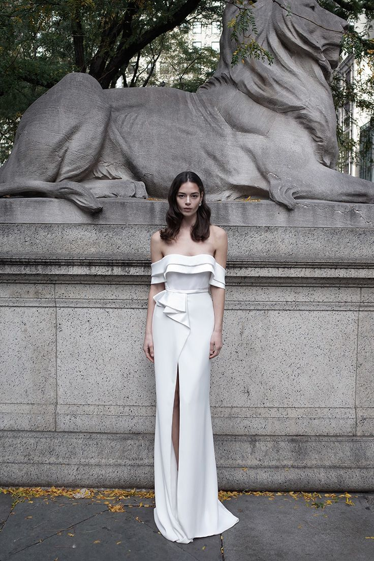 Stunning, elegant, strapless wedding dress with a slit in the middle ...