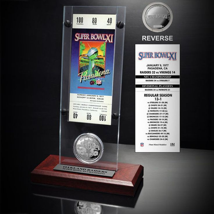 Oakland Raiders Super Bowl XI Ticket and Game Coin Acrylic Display
