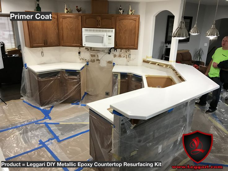 Primer coat pic of our #diy #metallic #epoxy #countertop # ...