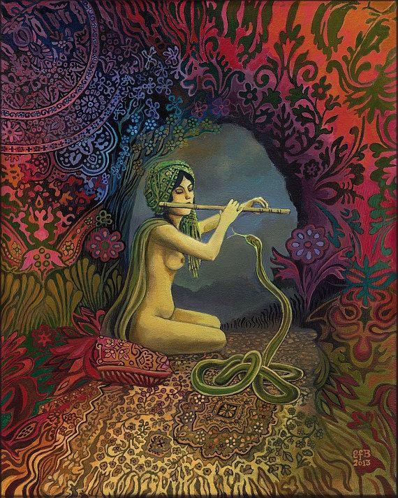 Snake Charmer Psychedelic Gypsy Goddess Art 11x14 by EmilyBalivet