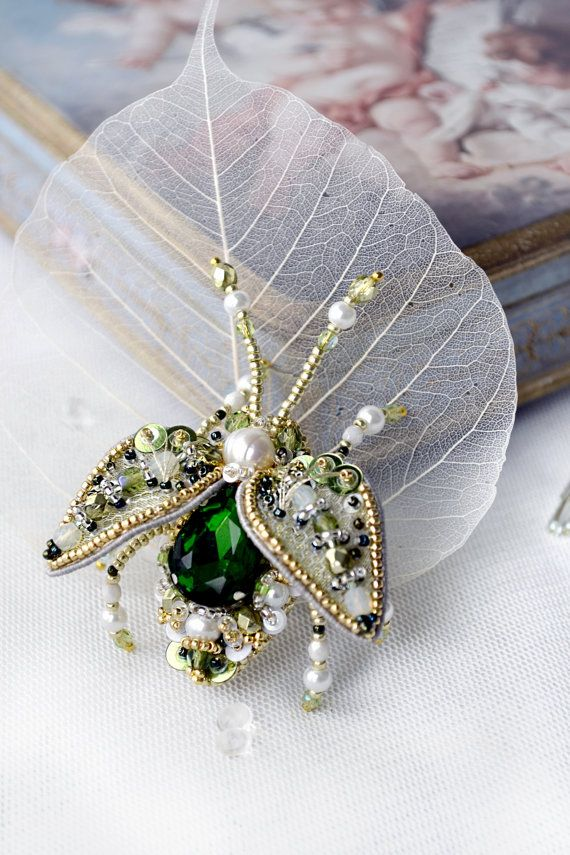 Luxury Beetle brooch pearl white grass green by PurePearlBoutique