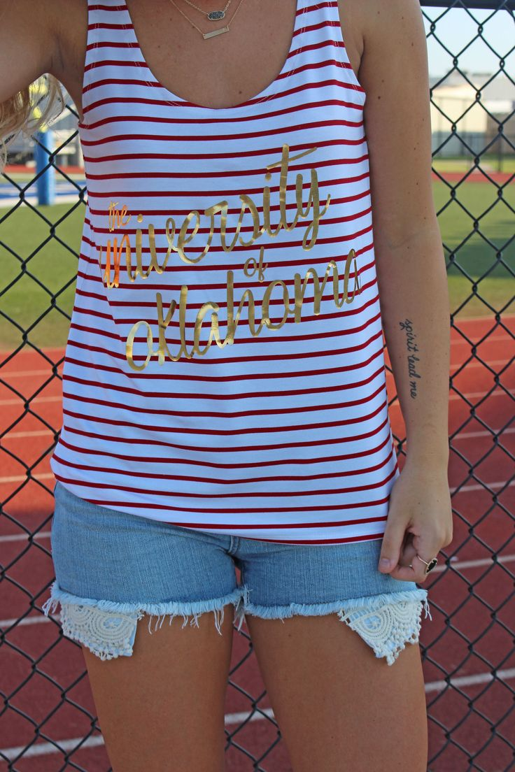 University of Oklahoma script Piko tank top foil. We've combined one of our best selling tops by Piko 1988 with a trendy University of Oklahoma design and the result is absolutely FABULOUS! You're gua