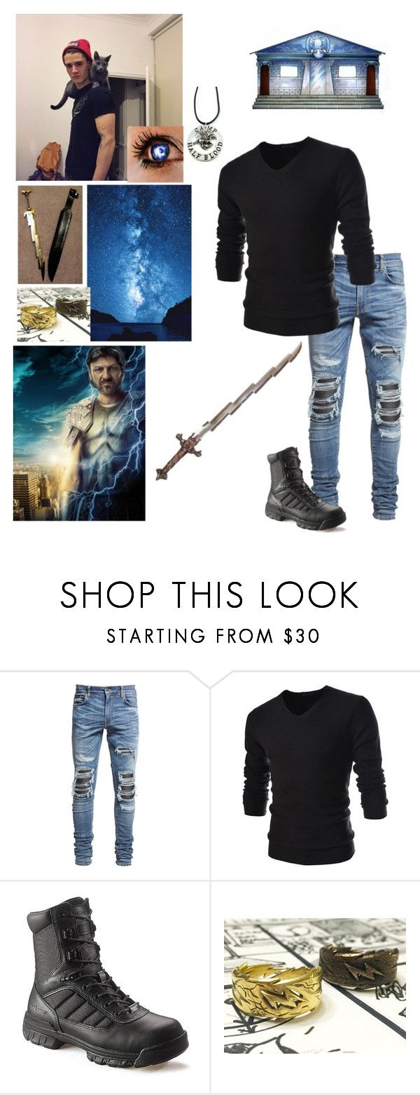 """""""Heath son of Zeus"""" by bumble-bucky ❤ liked on Polyvore featuring AMIRI, TheLees, Bates and S.W.O.R.D."""