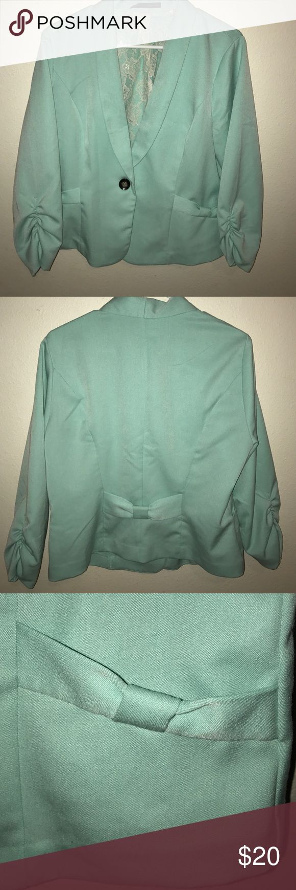Turquoise Blazer Turquoise blazer with small stain on the inside by button stitching. Maurices Jackets & Coats Blazers