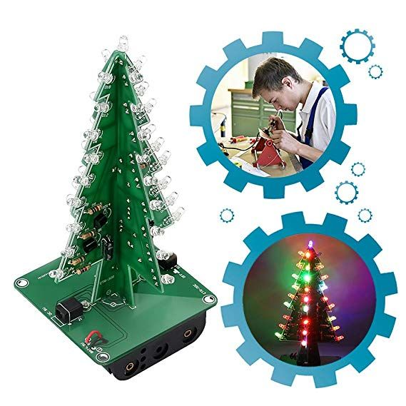 Amazon Com Is Icstation Diy 3d Xmas Tree Soldering Practice Electronic Science Assemble Kit 7 Color Flas Green Crafts For Kids 3d Christmas Tree Christmas Fun